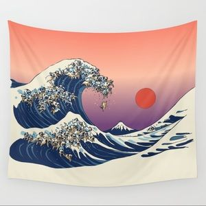 The Great Wave of Pug Wall Tapestry